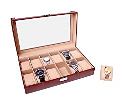 Essart PU Leather Watch Organiser Box for 12watches-Tan
