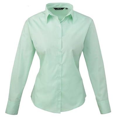 Premier Womens/Ladies Poplin Long Sleeve Blouse / Plain Work Shirt