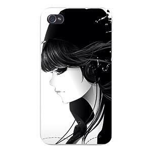 Case 4 4s Snap on - Cartoon Anime Girl Emo w/ Headphones & Black Hair