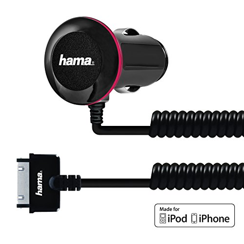 Hama 5Watt/1 Amp Car Charger with Integrated Apple 30-Pin Coiled Cable (30 Pin Coiled compare prices)