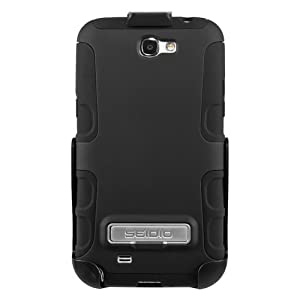 Seidio BD2-HK3SSGT2K-BK ACTIVE Case with Metal Kickstand and Holster Combo for Samsung Galaxy Note 2 - Retail Packaging - Black