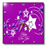 dpp_47055_2 Taiche - New Year - Stars - Happy New Year - stars - ice - snow - christmas - greetings - shooting star - - Wall Clocks - 13x13 Wall Clock