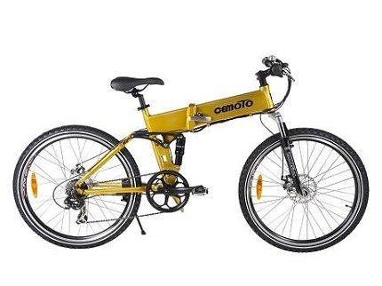 Cemoto E-18-Y Mountain Electric Folding Bike, Yellow
