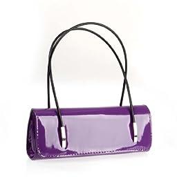 BMC Womens Synthetic Patent Leather Evening Clutch w/ Black Cord Shoulder Straps - HOTTIE PURPLE
