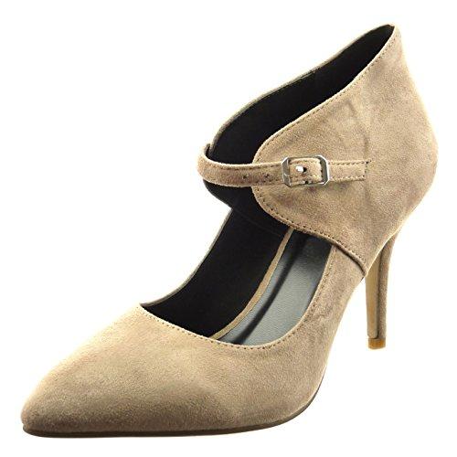 Sopily - Scarpe da Moda scarpe decollete alla caviglia donna Tacco Stiletto tacco alto 9 CM - Khaki FRF-8-YX-10 T 40