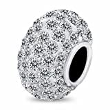 White Crystal Ball Sterling Silver fits Pandora Biagi Trollbeads bracelet Chamil European Beauty