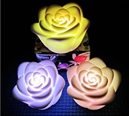 12pcs Rose Flower Flameless Candles LED Night Light Romantic Decoration Candle Lamp Nightlight with Color Change.