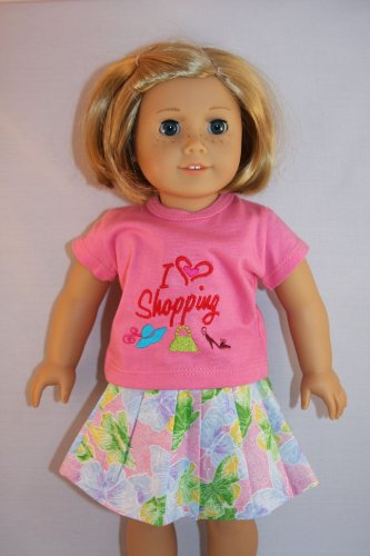 A Two Piece Outfit with Shirt and Floral Skirt It Says I Love Shopping Designed for 18 Inch Doll Like the American Girl Dolls