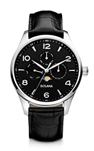 Golana Classic Moon Phase Men's Quartz Watch with Black Dial Analogue Display and Black Leather Strap CL200-1