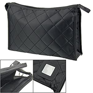 Rosallini Women Zipper Closure Rectangular Makeup Purse Bag Black