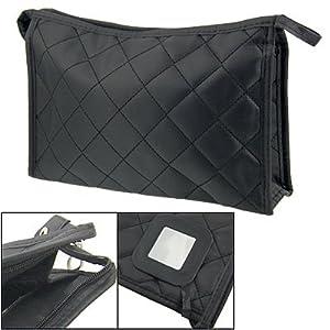 Rosallini Women Zipper Closure Rectangular Makeup Purse Bag Black
