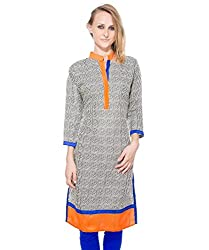 Clickedia Women's Cotton A line long Kurta with collar neck- 100% Cotton - M