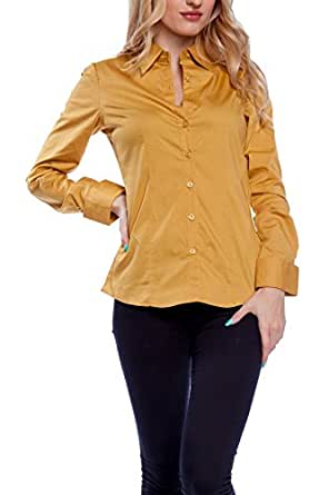 Women 39 s tailored long sleeve button down shirt with for Womens stretch button down shirt