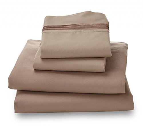Queen Khaki Amadora Double Brushed Ultra Microfiber Luxury Bed Sheet Set. front-1047560