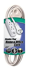 Coleman Cable 03517 Flat Plug Extension Cord, 16/3 Grounded with 3-Outlet Trinector Tap, 6-Foot