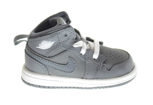 Air Jordan 1 Mid (BT) Baby Toddlers Basketball Shoes Cool Grey/White-Cool Grey 640735-014 (6 M US)