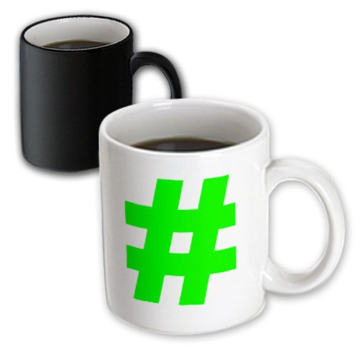 Mug_107344_3 Evadane - Funny Quotes - Green Hashtag - Mugs - 11Oz Magic Transforming Mug