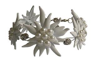 Trachtenschmuck Dirndl Edelweiss Armband mit Perlen und Crystal klaren Strasskristallen