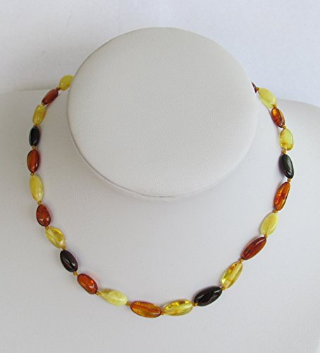 Amber Teething Necklace for Babies Oval and Multicolour Natural Pain Relief Anti-inflammatory Knotted Secure Traditional Plastic Twisted Clasps Drooling and Teething Pain Reducing Properties Remedies with Certificate of Authenticity