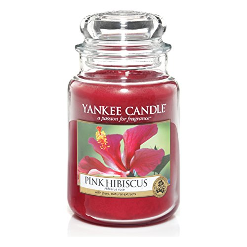 Yankee candle 1302664E Pink Hibiscus Candele in giara grande, Vetro, Rosso, 10x9.8x17 cm