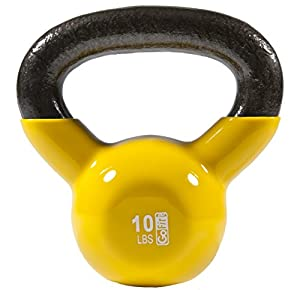 GoFit 35-Pound Green Kettlebell with Vinyl Coating, Training DVD and Exercise Booklet