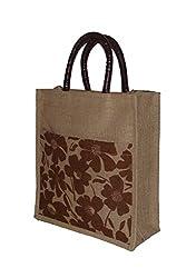 Foonty tote women printed Brown lunch/ carry bag (FJUWB6234)