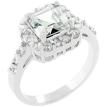 4.2 Carat (ct, cttw, ctw) Princess Cut with Accents Silver Tone Cubic Zirconia CZ Engagement Costume Ring (Size 5,6,7,8,9,10)