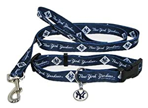New York Yankees Dog Collar Leash and ID Tag Set Size Medium by Hunter