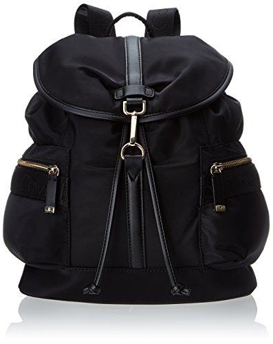 Calvin Klein Nylon Fashion Backpack,Black/Gold,One Size