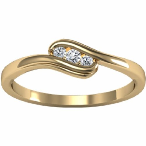 18K Yellow Gold Diamond Heart Promise Ring - 0.07 Ct. - Size 5.5
