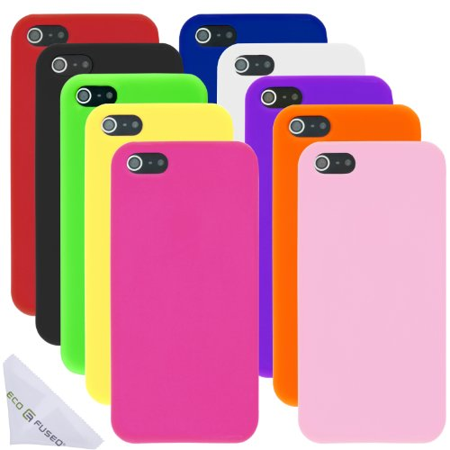 Soft Silicone Rubber Cases for iPhone 5 / 5S (Yellow, Pink, Hot Pink, Black, Orange, Red, Blue, Purple, White, Light Green) plus 1 ECO-FUSED� Microfiber Cleaning Cloth