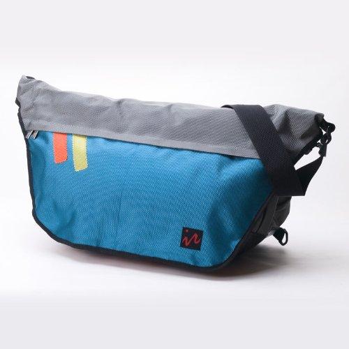 Ice Red design(アイスレッドデザイン)コーデュラナイロンメッセンジャーバッグ グレー×ブルー Lサイズ