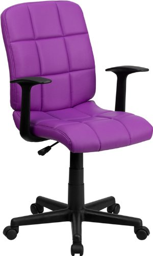 Mid-Back Purple Quilted Vinyl Swivel Task Chair with Nylon Arms Arm Swivel Office