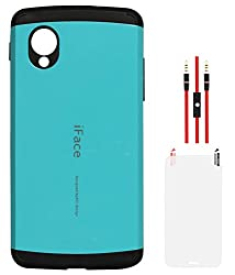 DMG iFace Firm Grip Back Cover for LG Google Nexus 5 (Light Blue) + AUX Cable + Matte Screen