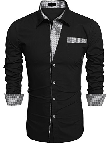Men's Long-Sleeve Contrast Button-Down Shirt