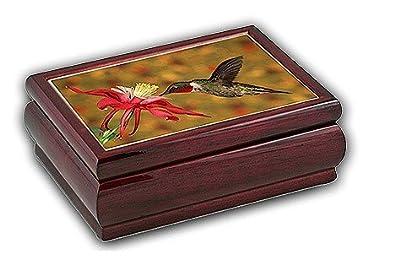 wooden hummingbird music, jewelry box