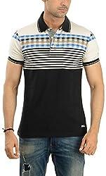 Lead & Ride Men's Polo Neck T-Shirt (303 black_Large, Black, Large)