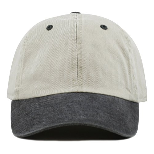 The Hat Depot Pigment Dyed Low Profile Six Panel Cap (Beige Black) (Six Panel Hat compare prices)
