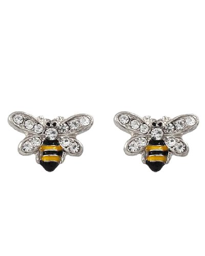 Rhodiumized Clear Rhinestone Bee Buttons Post Earrings