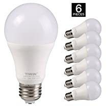 TIWIN LED Light Bulbs 100 watt equivalent (11W),Soft White (2700K), General Purpose A19 LED Bulbs,E26 Base ,Pack of 6