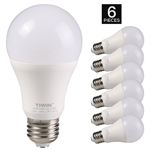 TIWIN LED Light Bulbs 100 watt equivalent (11W),Soft White (2700K), General Purpose A19 LED Bulbs,E26 Base ,UL Listed, Pack of 6 (Kitchen Light Bulbs compare prices)
