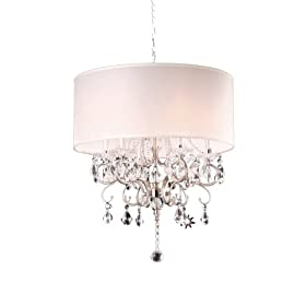 Modern Contemporary Crystal Silver Chandelier (Wide)