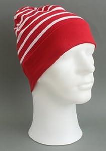 Rollmütze mit unifarbenen Rand rot - weiss gestreift für Erwachsene von Modas