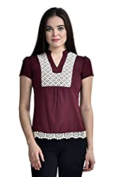 Femninora Maroon Color Casual Top With lace border