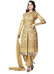 Surat Tex Women's Georgette Dress (F234Dlgoldaj_Gold_Free Size)