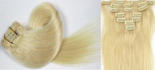 Clip-In-Extensions für komplette Haarverlängerung - hochwertiges Remy-Echthaar - 70g - 38 cm -7tlg- Nr.60 Whitest Ash Blonde