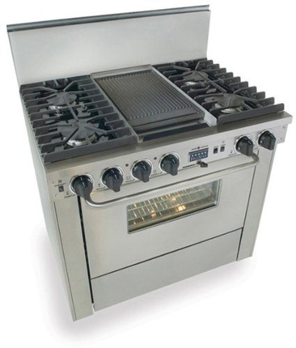 """36"""" Pro-Style Dual-Fuel Natural Gas Range With 4 Sealed Ultra High-Low Burners 3.69 Cu. Ft. Convection Oven Self-Cleaning And Double Sided Grill/Griddle Stainless"""