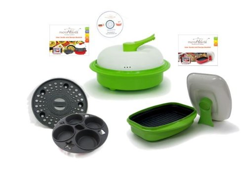 Microhearth Cookware Set (Everyday Pan Combo & Grill Pan) For Microwave Oven, Lime