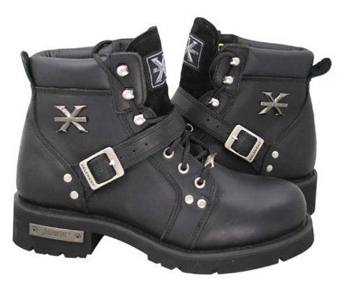 Xelement Womens Advanced Lace-Up Xelement Motorcycle Biker Boots