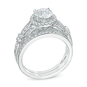 she 1.7ct Round White Cz 925 Sterling Silver Engagement Wedding Ring Set Women's Size 6 by Newshe Jewellery